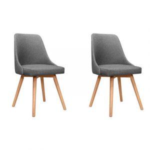 Artiss 2x Replica Dining Chairs Beech Wooden Timber Chair Kitchen Fabric Grey UPHO-D-DIN203A-GYX2