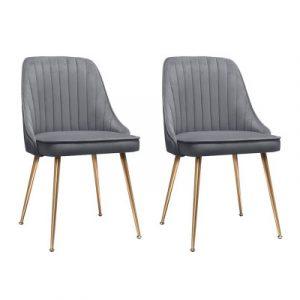Artiss 2X Dining Chairs Retro Chair Cafe Kitchen Modern Iron Legs Velvet Grey UPHO-D-DIN203C-VEL-GYX2
