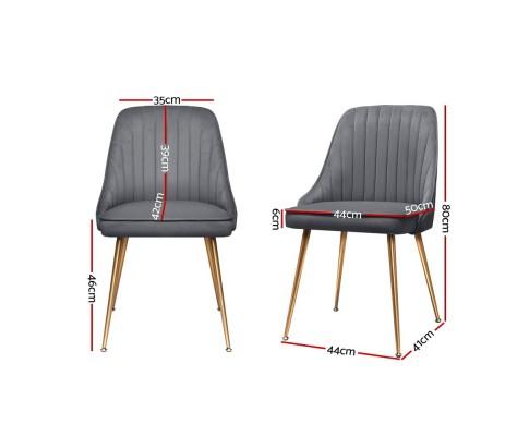 Artiss 2X Dining Chairs Retro Chair Cafe Kitchen Modern Iron Legs Velvet Grey PHO-D-DIN203C-VEL-GYX2