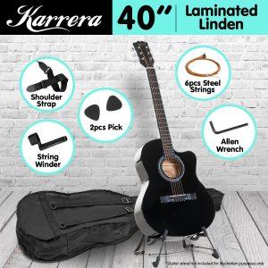 Karrera Acoustic Cutaway 40in Guitar - Black acg40-bk