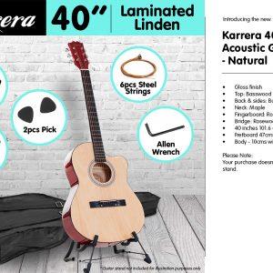 Karrera Acoustic Cutaway 40in Guitar - Natural acg40-nat