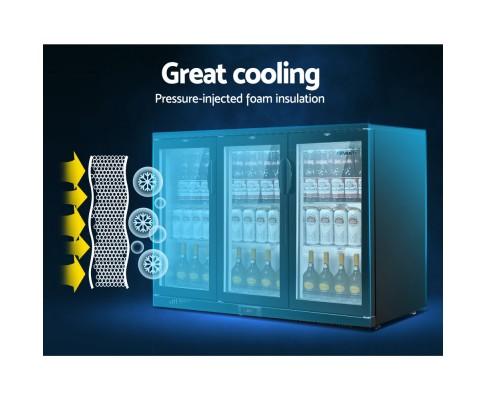 Devanti Bar Fridge 3 Glass Door Commercial Display Freezer Drink Beverage Cooler Black BF-E-320L-BK