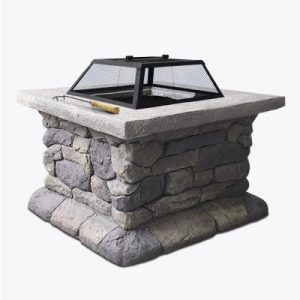 Grillz Fire Pit Outdoor Table Charcoal Garden Fireplace Backyard Firepit Heater FPIT-STONE-MID