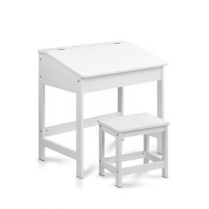 Keezi Kids Table Chairs Set Children Drawing Writing Desk Storage Toys Play FUNKI-IFUN-WH