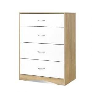 Artiss Chest of Drawers Tallboy Dresser Table Bedroom Storage White Wood Cabinet FURNI-O-TBOY-01-WHWD-AB