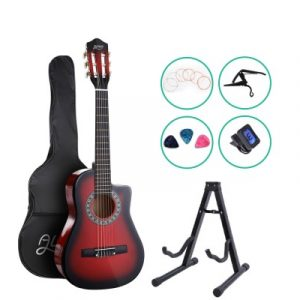 """Alpha 34"""" Inch Guitar Classical Acoustic Cutaway Wooden Ideal Kids Gift Children 1/2 Size Red with Capo Tuner GUITAR-D-34-RED-CAPO"""