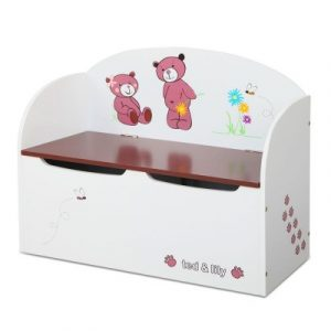 Keezi Kids Storage Box Bench - White & Brown PLAY-WOOD-TOYSTORE-WH