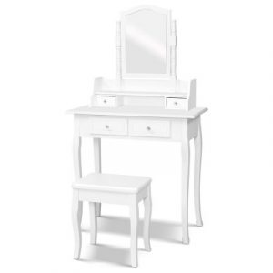 Dressing Table Stool Mirror Jewellery Cabinet White Tables Drawers Box Organizer FURNI-P-1MIR-4D-WH