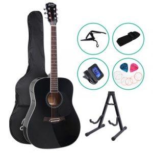 Alpha 41 Inch Wooden Acoustic Guitar with Accessories set Black GUITAR-D-41-BK-CAPO