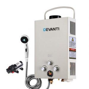 Devanti Outdoor Portable LPG Gas Hot Water Heater Shower Head 12V Water Pump Beige GWH-LPG-8L-SW-BG-DI-PUMP