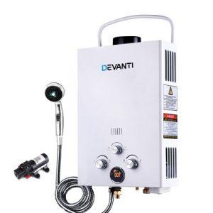 Devanti Outdoor Portable Gas Hot Water Heater Shower Camping LPG Caravan Pump White GWH-LPG-8L-SW-WH-DI-PUMP