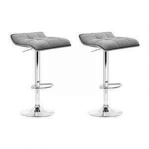 Artiss 2x Fabric Bar Stools Swivel Bar Stool Dining Chairs Gas Lift Kitchen Grey BA-TW-NEW1002A-GYX2