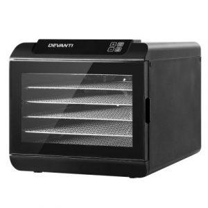 Devanti 6 Tray Food Dehydrators Commercial Beef Jerky Maker Fruit Dryer Black FD-E-363-ST-BK