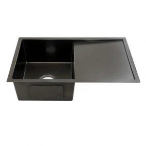 Cefito 750x450mm Stainless Steel Kitchen Sink Under/Topmount Sinks Laundry Bowl Black SINK-BLACK-7545