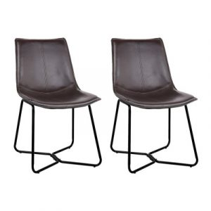 Artiss Set of 2 PU Leather Dining Chair - Walnut BA-TW-8012-BKX2