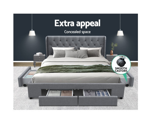 Artiss King Size Bed Frame With Storage Drawer Grey Fabric MILA BFRAME-F-MILA-K-GY-ABC