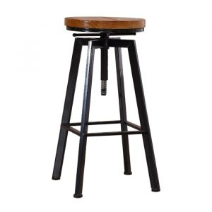 Levede Industrial Bar Stools Kitchen Stool Wooden Barstools Swivel Chair Vintage BR1001