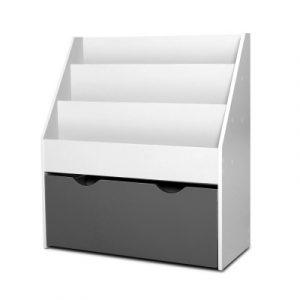Keezi Kids Bookshelf Childrens Bookcase Organiser Storage Shelf Wooden White FURNI-E-BOOK-02-WHGY
