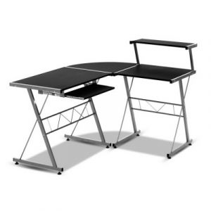 Artiss Corner Metal Pull Out Table Desk - Black MET-DESK-117-BK