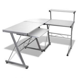 Artiss Corner Metal Pull Out Table Desk - White MET-DESK-117-WH