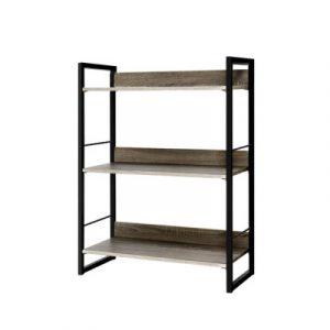 Artiss Bookshelf Display Shelves Wooden Book Shelf Wall Corner Bookcase Storage MET-DESK-574A-3S-BK-OA