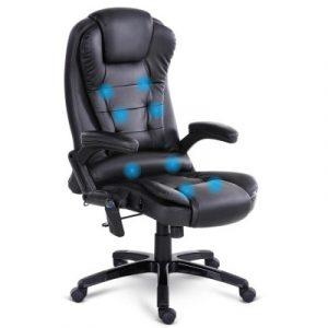 8 Point PU Leather Reclining Massage Chair - Black MOC-09M-BK