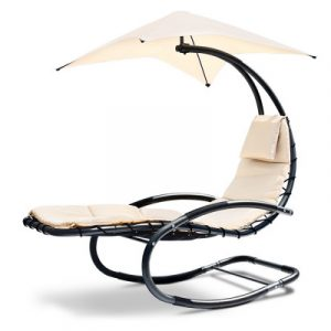 Gardeon Outdoor Rocking Armchair with Shade - Black & Beige OD-S1109-BE-AB