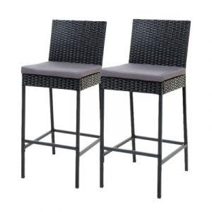 Gardeon X2 Outdoor Bar Stools Dining Chairs Rattan Furniture ODF-BAR-CHAIR-BK-2X