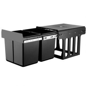 Set of 2 15L Twin Pull Out Bins - Black POT-BIN-15L-SET-BK