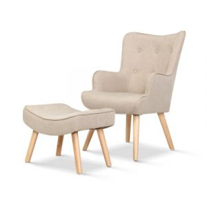 Artiss Armchair Lounge Chair Fabric Sofa Accent Chairs and Ottoman Beige UPHO-B-ARM05STO-BG