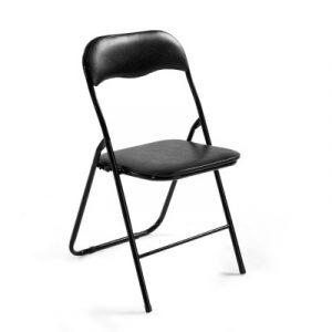 Artiss 4x Portable Vinyl Folding Chair Padded Seat Steel Frame Black 4 Pack VFC-C3101-4-BK