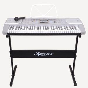 Karrera 61 Keys Electronic Keyboard Piano with Stand - Silver ekb-chj-61-sl