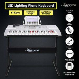 Karrera 61 Keys Electronic LED Keyboard Piano with Stand - Silver ekb-chj-61-sl-led