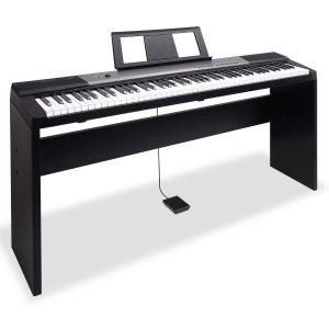 Karrera 88 Keys Electronic Keyboard Piano with Stand Black ekb-chj-88-bk