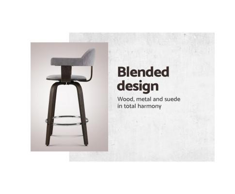 Artiss 2x Bar Stools Wooden Swivel Bar Stool Kitchen Dining Chair Wood Grey BA-TW-8036-GYX2