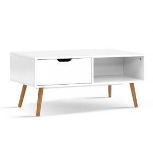 Artiss Coffee Table Storage Drawer Open Shelf Wooden Legs Scandinavian White FURNI-E-SCAN-COF02-WH