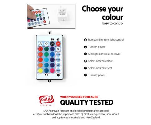 Artiss 180cm TV Cabinet Entertainment Unit Stand RGB LED Gloss 3 Doors White FURNI-O-LED-TV180-WH-AB