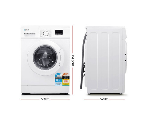 Devanti 8kg Front Load Washing Machine Quick Wash 24h Delay Start Automatic FWM-C-8KG-WH