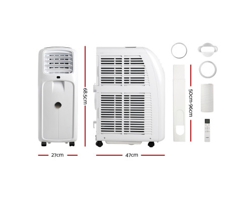 Devanti Portable Air Conditioner Cooling Mobile Fan Cooler Remote Window Kit White 2000W PAC-A-16K-WH