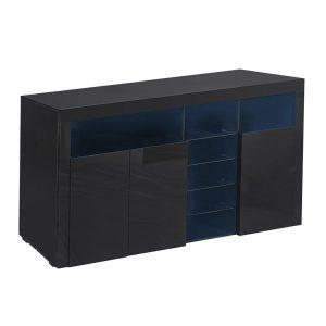 Levede 180cm Buffet Sideboard Cabinet Storage Modern High Gloss Cupboard Black FU9005-180-BK