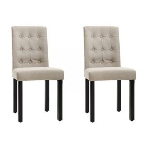 Artiss 2x DONA Dining Chair Fabric Foam Padded High Back Wooden Kitchen Beige UPHO-D-DIN826-BGX2