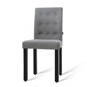 Artiss 2x DONA Dining Chair Fabric Foam Padded High Back Wooden Kitchen Grey UPHO-D-DIN826-GYX2