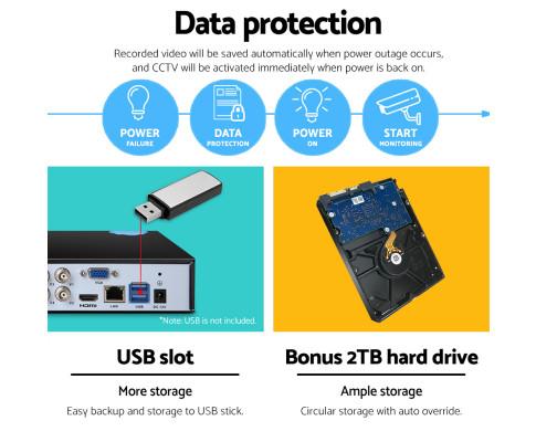UL-Tech CCTV Security System 2TB 4CH DVR 1080P 2 Camera Sets CCTV-4C-2B-BK-2T