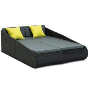 Gardeon 2 Seat PE Wicker Sun Lounge Daybed - Black FF-RB17025-OB-BK-AB