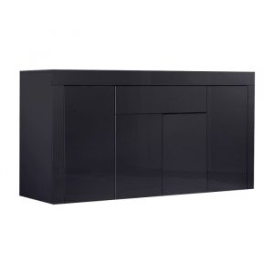 Levede Buffet Sideboard Cabinet High Gloss Storage Modern Doors Cupboard Black FU9002-4-BK