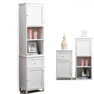 Levede 2 in 1 Bathroom Tallboy Furniture Toilet Storage Cabinet Laundry Cupboard CC1010-AB