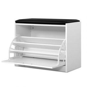 Artiss Shoe Cabinet Bench Shoes Storage Rack Organiser Drawer 15 Pairs White FURNI-O-SHOE-BEN01-WH