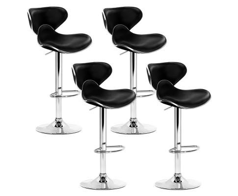 Artiss Set of 4 PU Leather Bar Stools - Black BA-K-1060A-BKX4