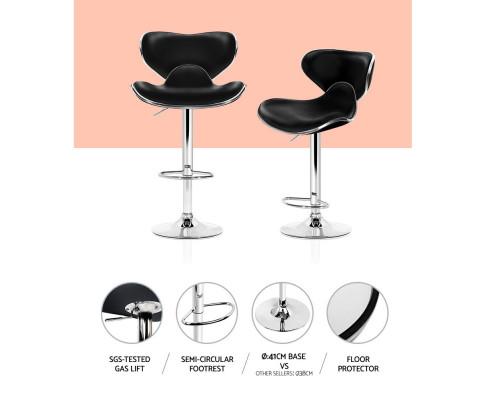 Artiss set of 4 Bar Stools DINO Kitchen Swivel Bar Stool PU Leather Gas Lift Chairs Black BA-K-1060A-BKX4