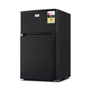 Devanti 84L Bar Fridge 2 Door Built-in Light Beverage Cooler Drink Black Fridges BF-C-89L-2D-BK